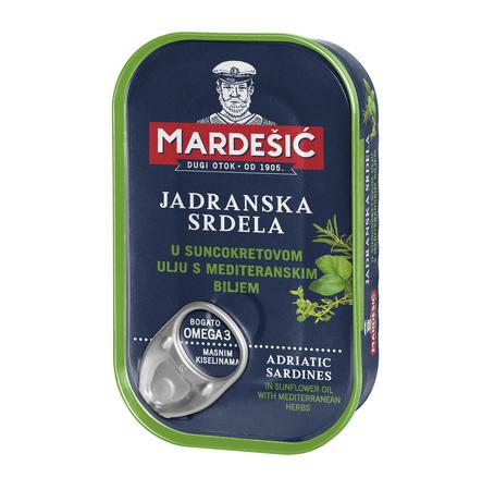 Adriatyckie sardynki w oleju słonecznikowym z ziołami (Jadranska srdela u suncokretovom ulju s mediteranskim biljem) 90 g (1)